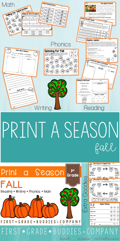 Print a Season: Fall / Apples / Pumpkins {Math, Literacy, Writing ...