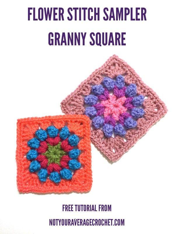 flower stitch granny square crochet pattern   crochet mofits and ...