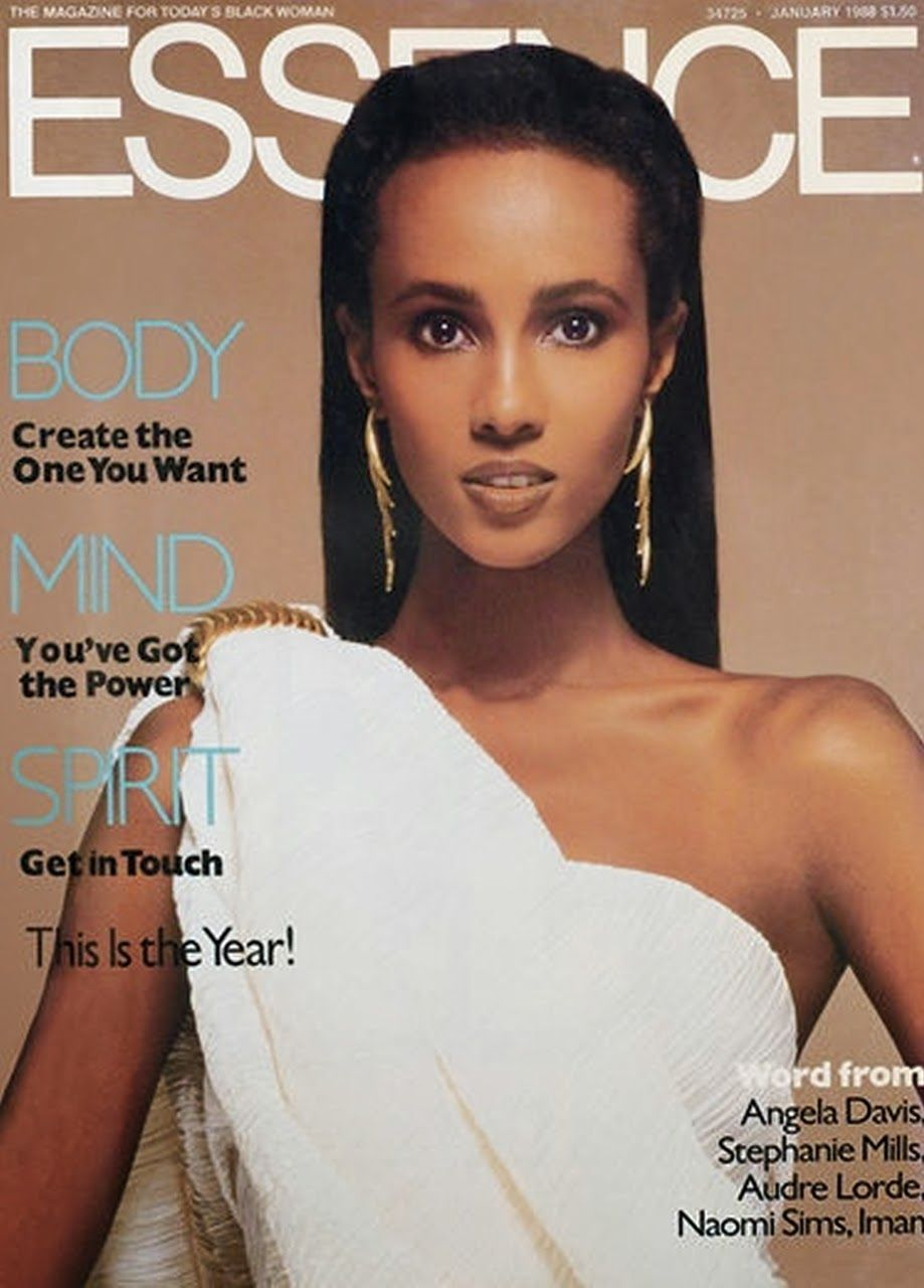 IMAN ABDULMAJID | ESSENCE MAGAZINE JANUARY,1988 COVER