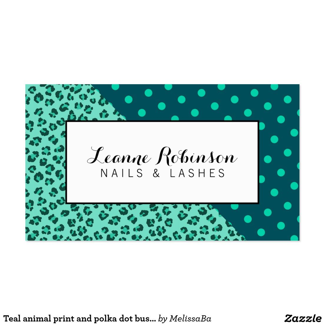 Teal animal print and polka dot business card | Business Cards ...