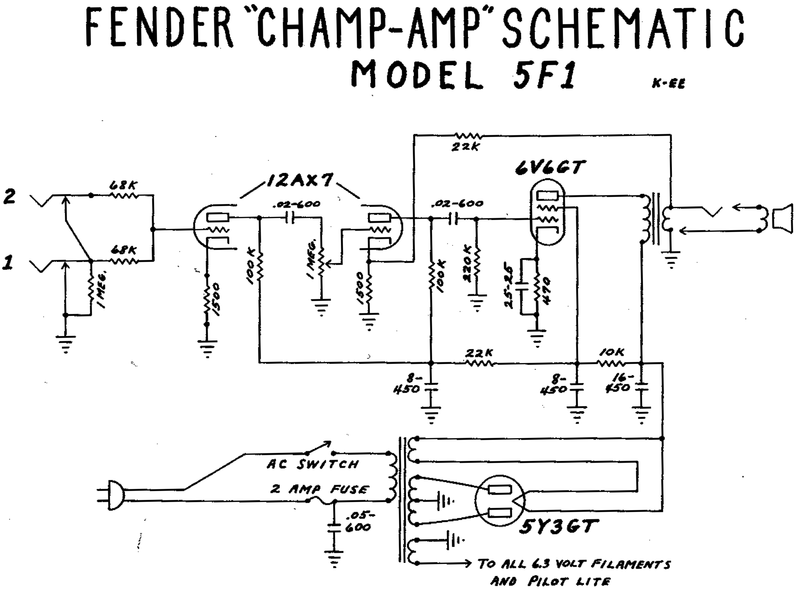 Pin by ZoukiTheBorder on DIY ELECTRONICS | Valve amplifier ... Fender Champion Schematic on
