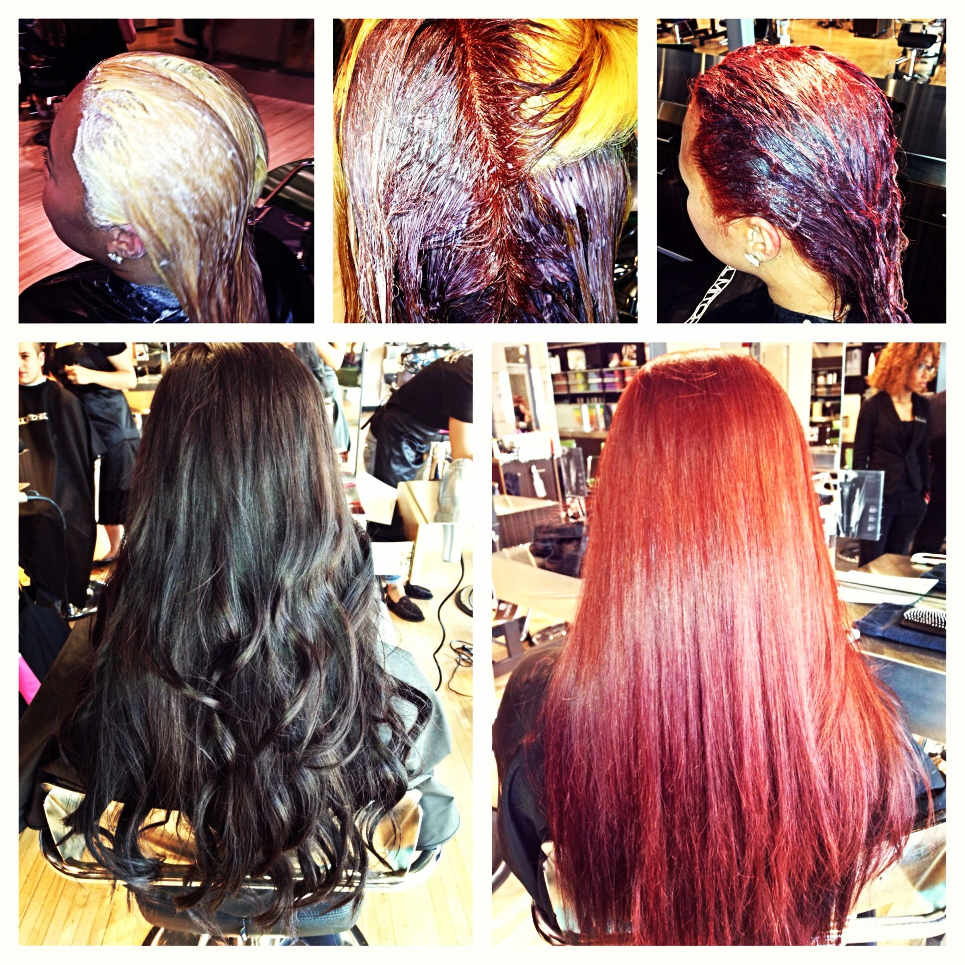 Hair Transformation From Black To Red Paul Mitchell Color 6r Hair Transformation Hair Long Hair Styles