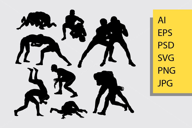Wrestling Silhouette Graphic By Cove703 Creative Fabrica