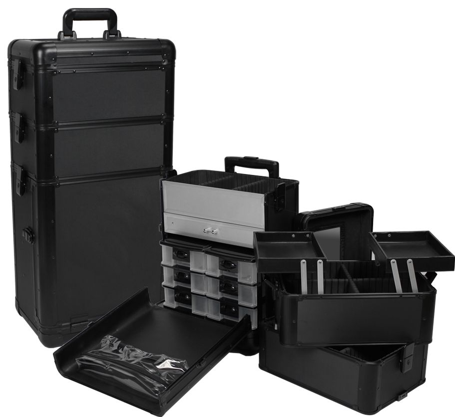 All Black Professional Rolling Makeup Case W Drawers