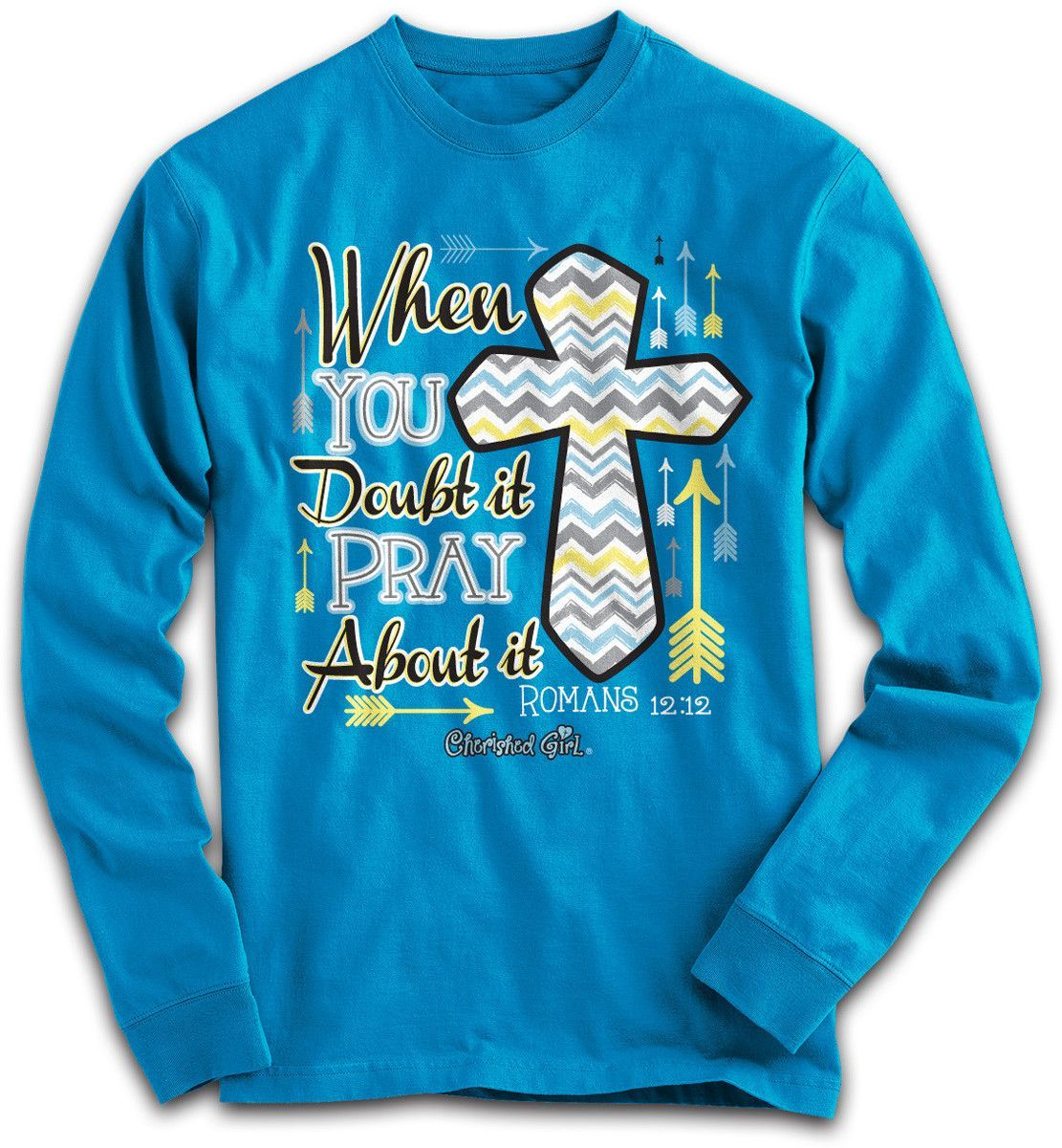 Cherished Girl Pray About it Chevron Cross Girlie Christian Bright ...