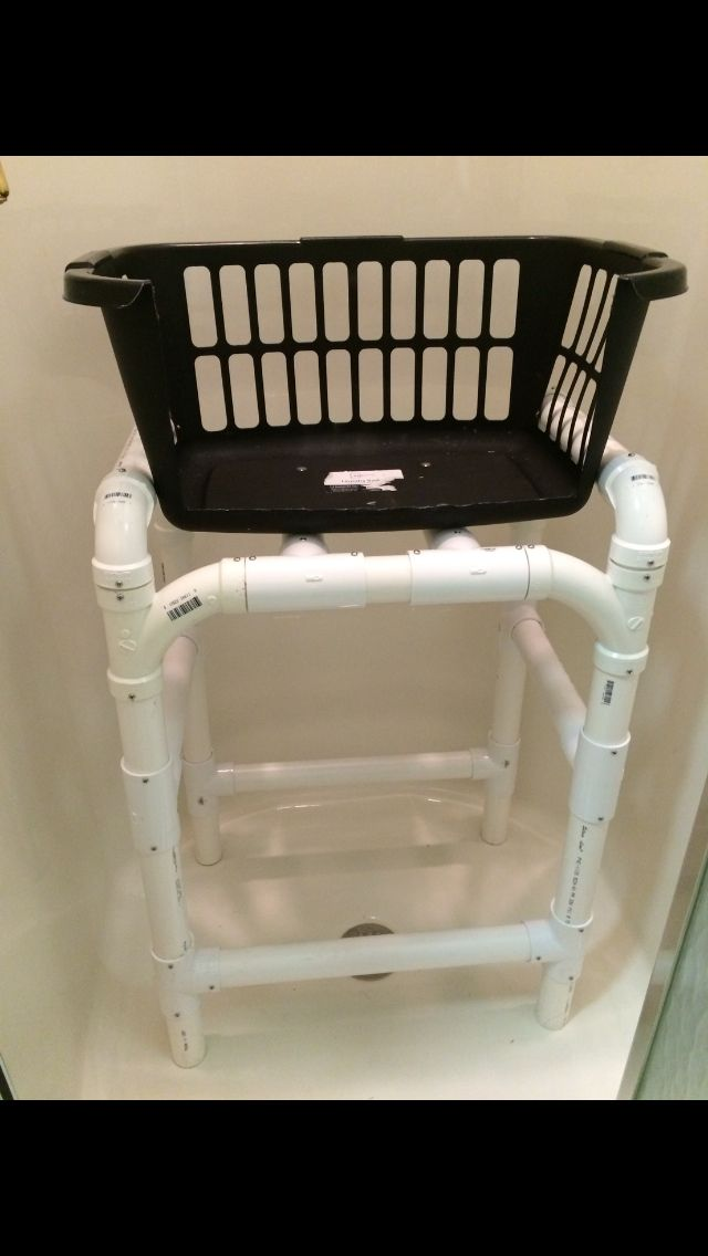 A homemade shower seat for our little dog, my husband designed and ...