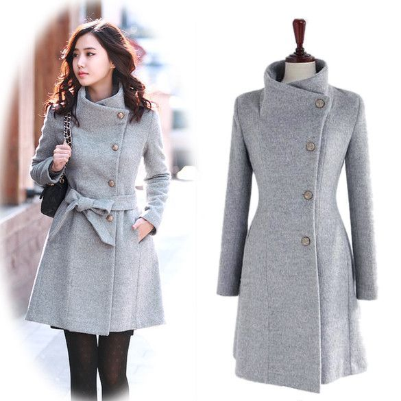 New Women Trench Woolen Coat Winter Slim Double Breasted Overcoat ...