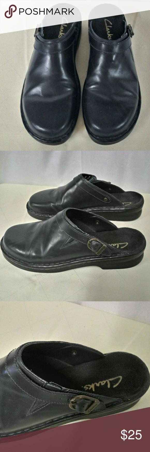 Clarks Navy Blue Slip On Clogs Size 8