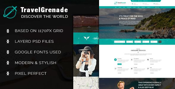 TravelGrenade-Theme for Travel   Psd templates and Project projects