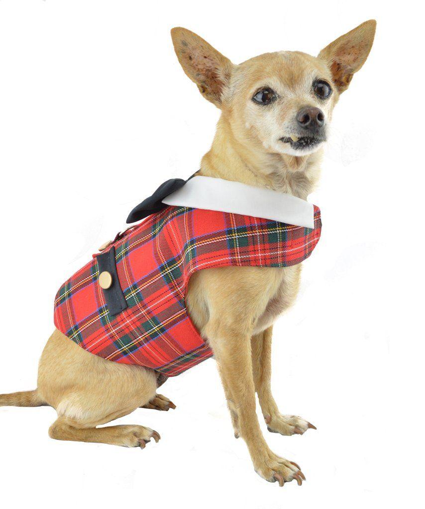 Red Tartan Plaid Dog Vest Harness Pets Tartan Plaid Tartan Plaid