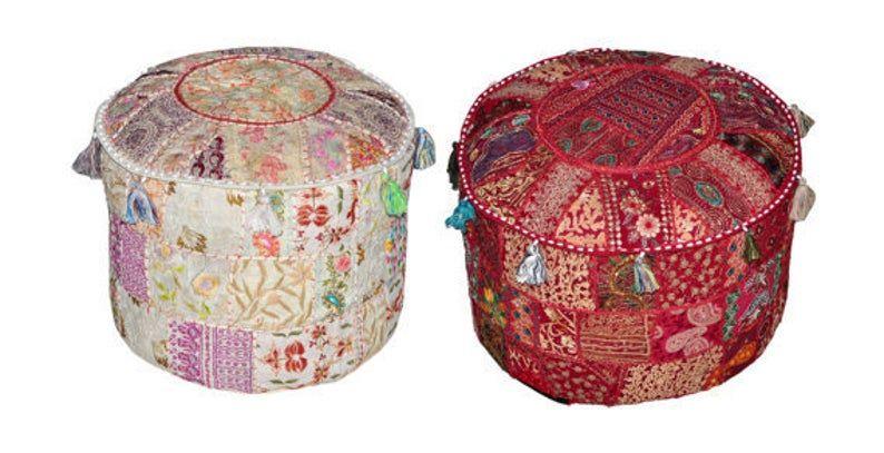 2 Pc Set Of Bohemian Pouf Ottoman Vintage Patchwork Indian Large