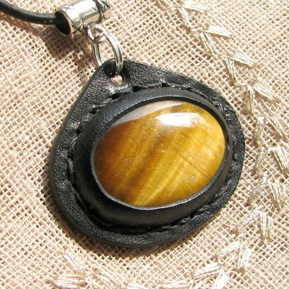 Tiger Eye Necklace with Leather Setting - an AoS Original Earth Medallion