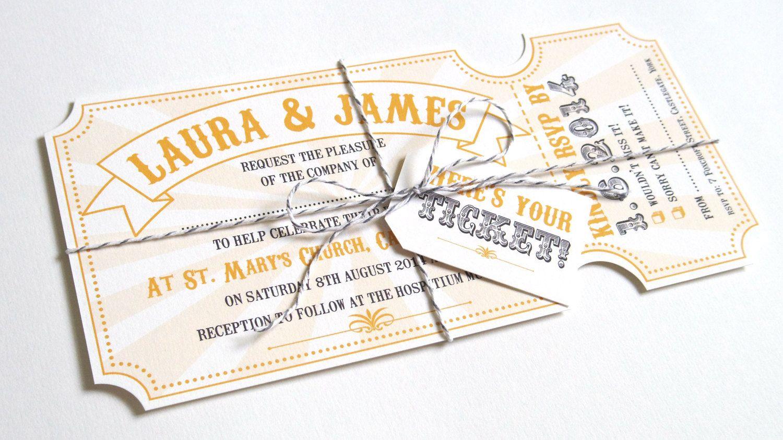 circus ticket wedding invitations fun fair carnival colourful