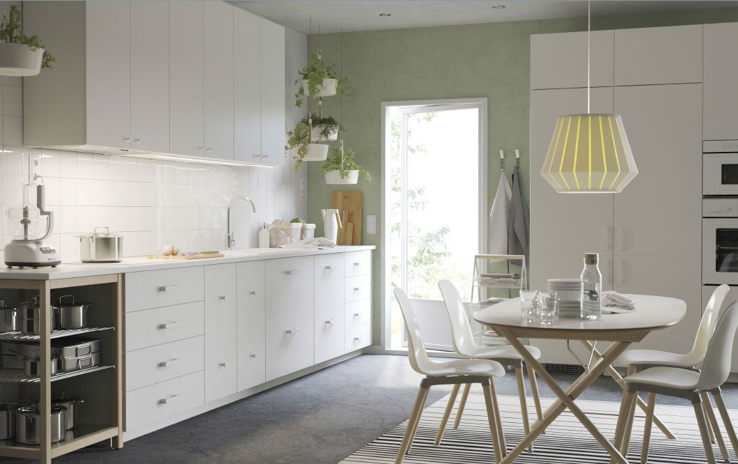 A white large kitchen with white worktops handles and - Maniglie mobili ikea ...