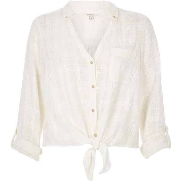 30e756e4507af1 River Island Cream textured tied front shirt (£28) ❤ liked on Polyvore  featuring tops, cream, shirts, women, shirt top, cotton shirts, textured  shirt, tie ...