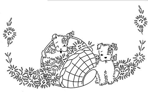 Quilt Embroidery Patterns Dogs Dog And Basket Embroidery Pattern