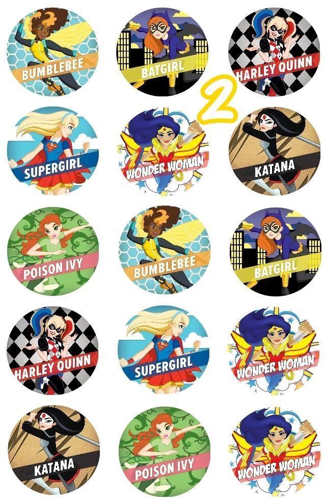 Dc Superhero Girls Edible Cupcake Toppers 2 Girl Superhero