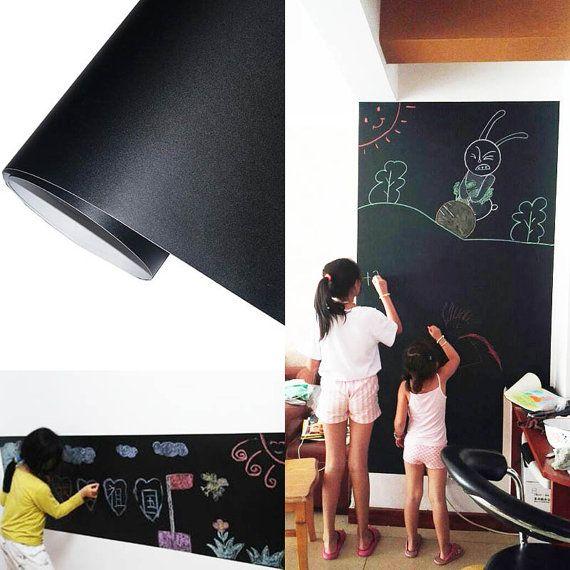 Chalkboard on the Wall, Wall paper roll waterproof, wall blank black