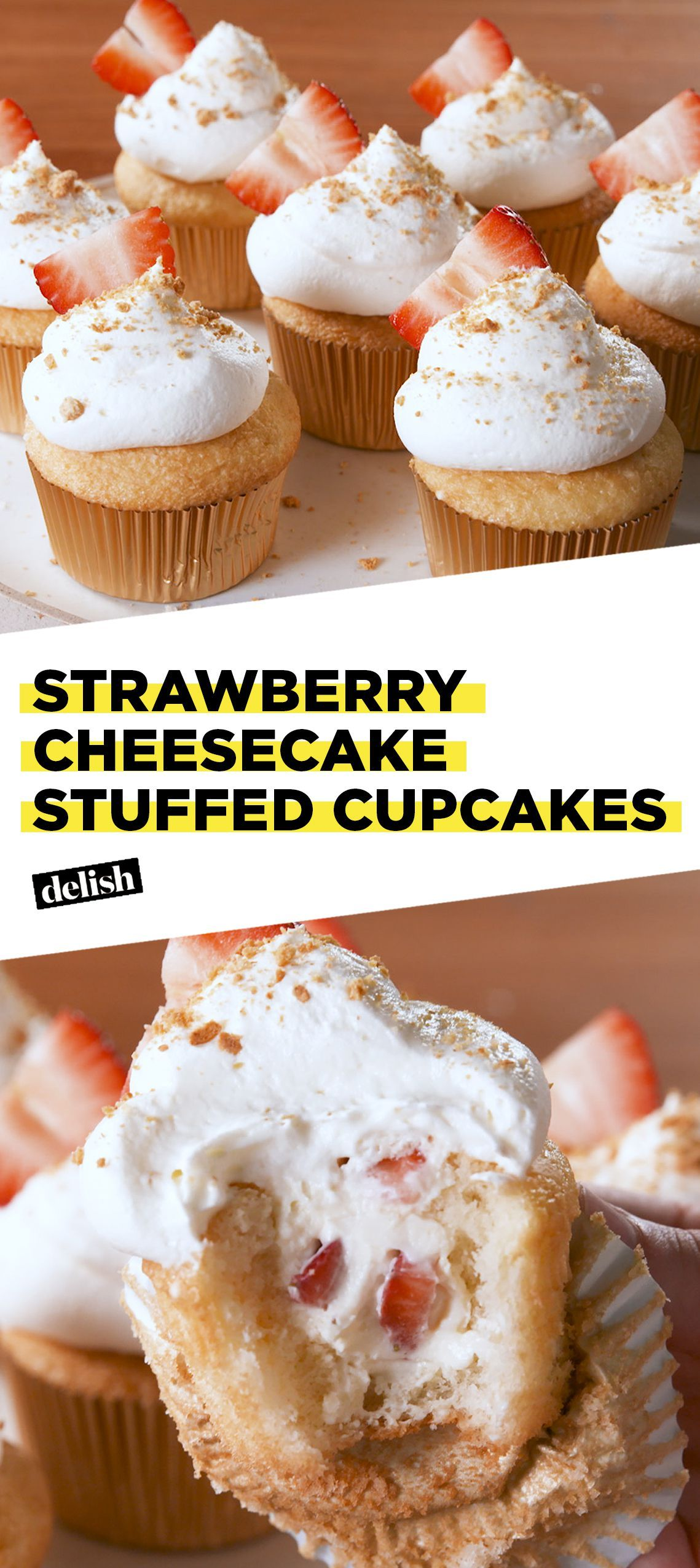 Strawberry Cheesecake Stuffed Cupcakes Recipe Cupcake Recipes