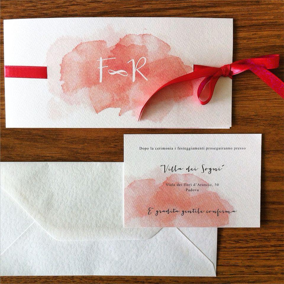 Partecipazioni Matrimonio Acquerello.Partecipazioni Matrimonio Con Acquerelli Wedding Invitation With