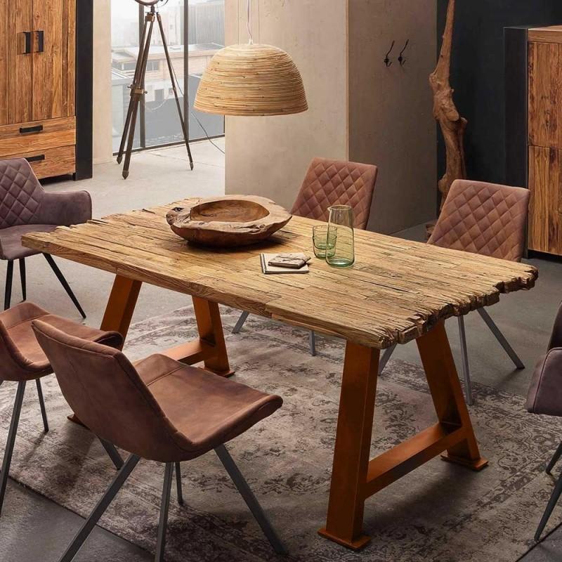 Teak Altholz Tisch kurze Seite unregelmäßig mit