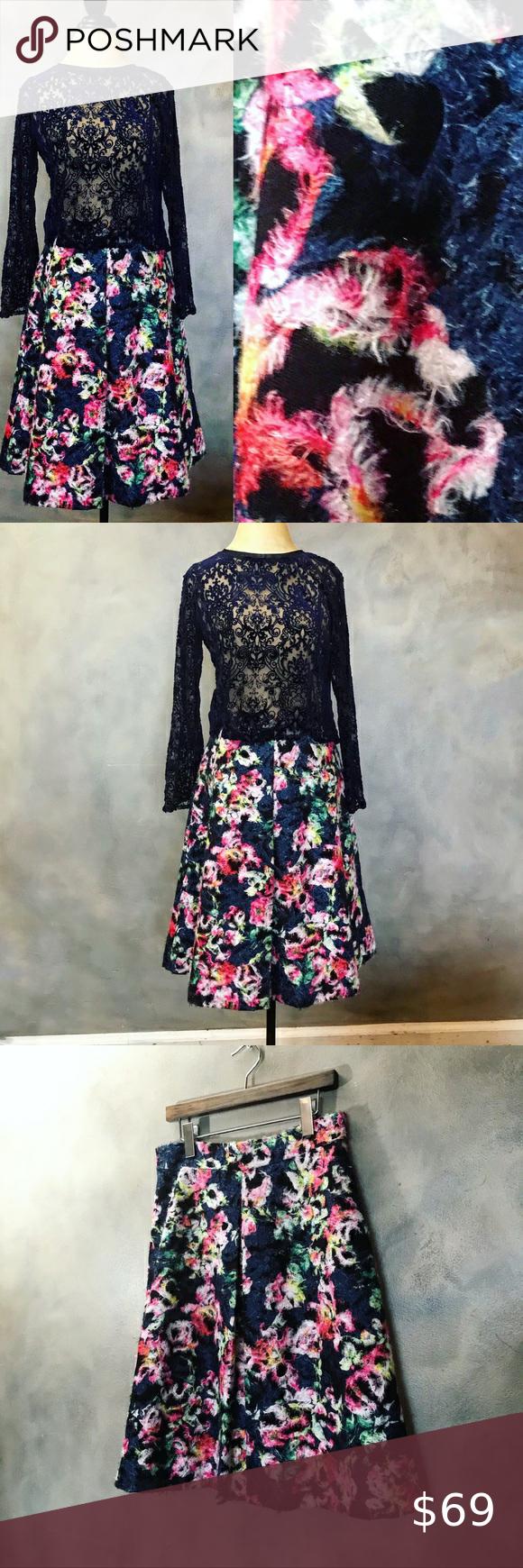 Floral Medium Length Earthy A-Line Skirt