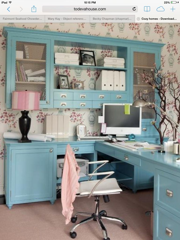 A modern country style girly blue and pink office  Girly Office