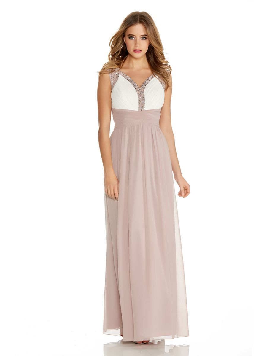 7a5e5a6f5af Mocha And Cream Chiffon Embellished Maxi Dress - Quiz Clothing ...