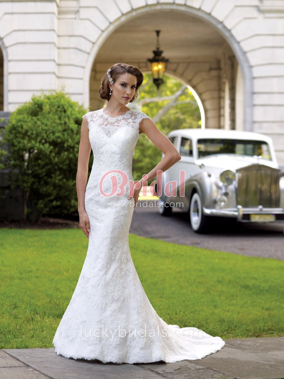 Lace over satin mermaid vintage winter wedding dress with illusion