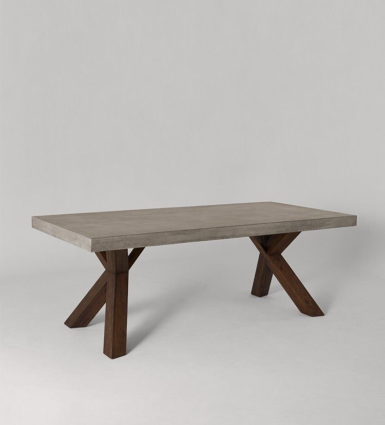 Swoon Editions Dining table, industrial style in concrete and acacia - £599