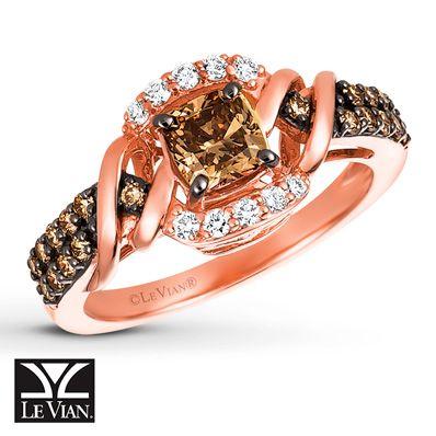 LeVian Chocolate Diamonds Ring 1 ct tw 14K Strawberry Gold Diamond