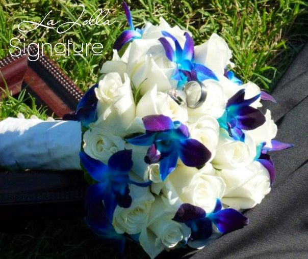 Blue Orchid Wedding Bouquet | La Jolla Village Florist: Blue orchids and white roses bridal bouquet