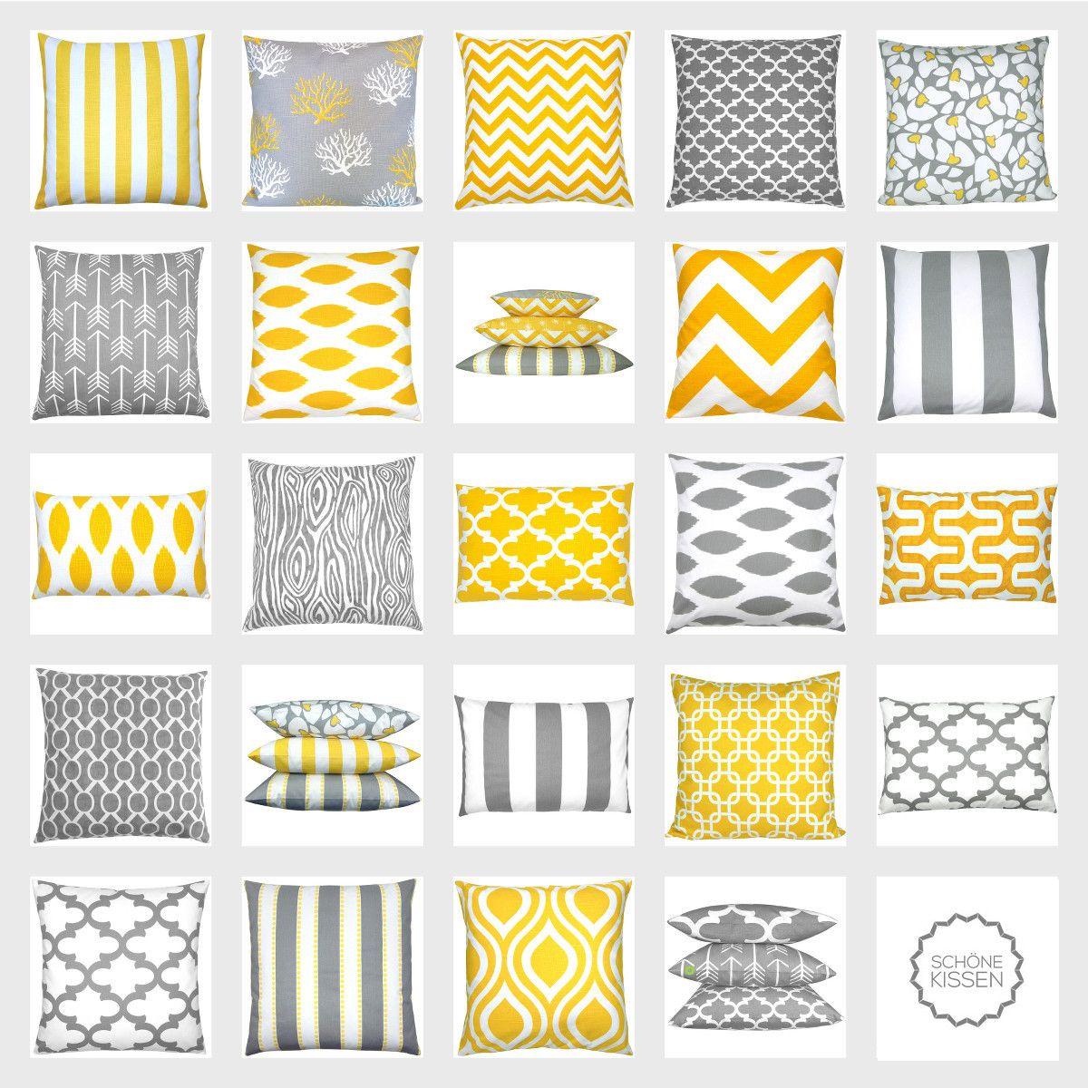kissen kombination in gelb grau wei mit trendmuster. Black Bedroom Furniture Sets. Home Design Ideas