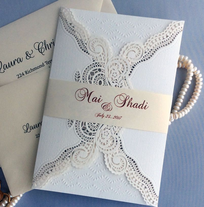 super unique laser cut wedding invitations%0A Personalized intricate lace Laser cut envelope pocket with printed white  gold belly band luxury wedding Invitations