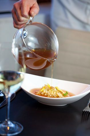 Passatelli in Brodo: Parmesan-Breadcrumb Dumplings, Chicken Broth, Root Vegetables, Celery Leaf, and Crispy Chicken Skin paired with Vermentino, Guado al Tasso Estate, Bolgheri, Italy, 2011/ Chef Adam Nadel and Sommelier Zack Kameron of A Voce Columbus - New York, NY