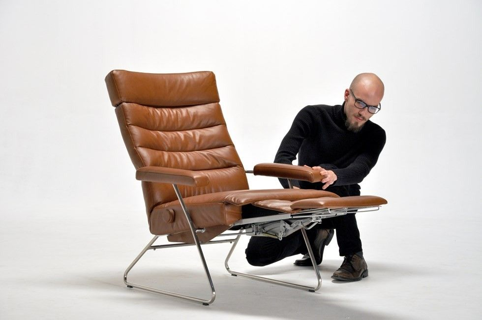 leather recliner chair barber repair hydraulic adele by lafer modern recliners cressina