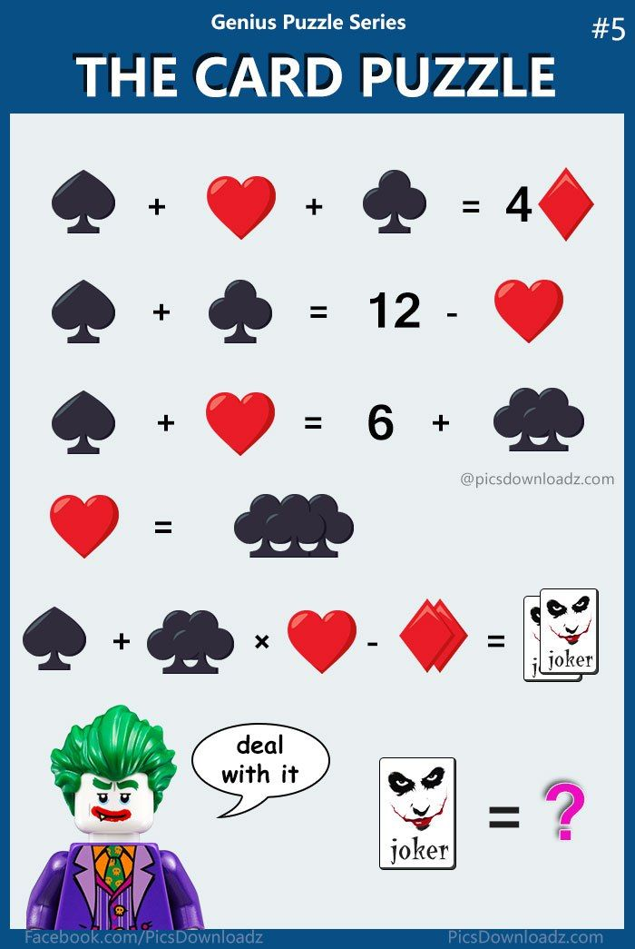 The Card Puzzle, Find the JOKER value – Confusing Brainteasers Math ...