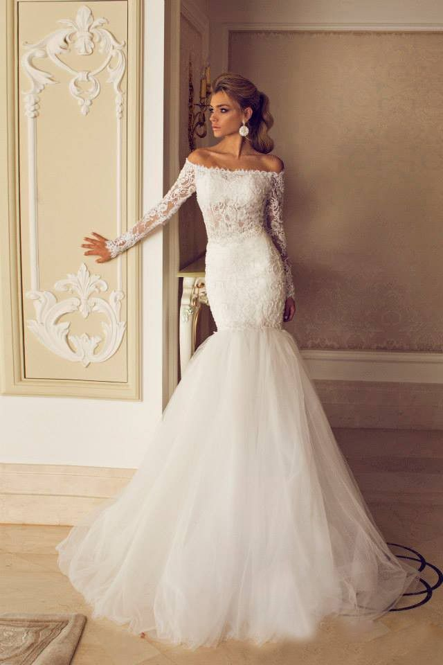 Romantic 2015 latest dres design casamento Lace Boat Neck Long ...