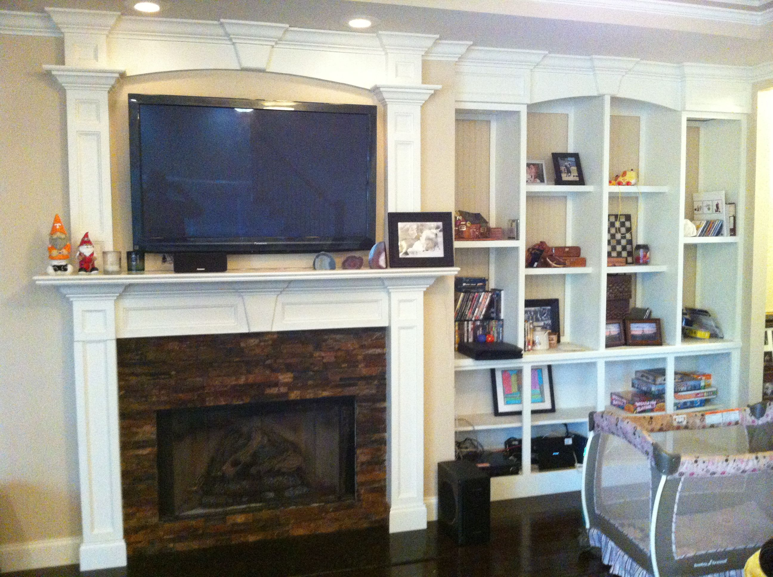 Redid The Fireplace, Double Mantle, Crown Molding And Matching Built In  Shelves, Stacked