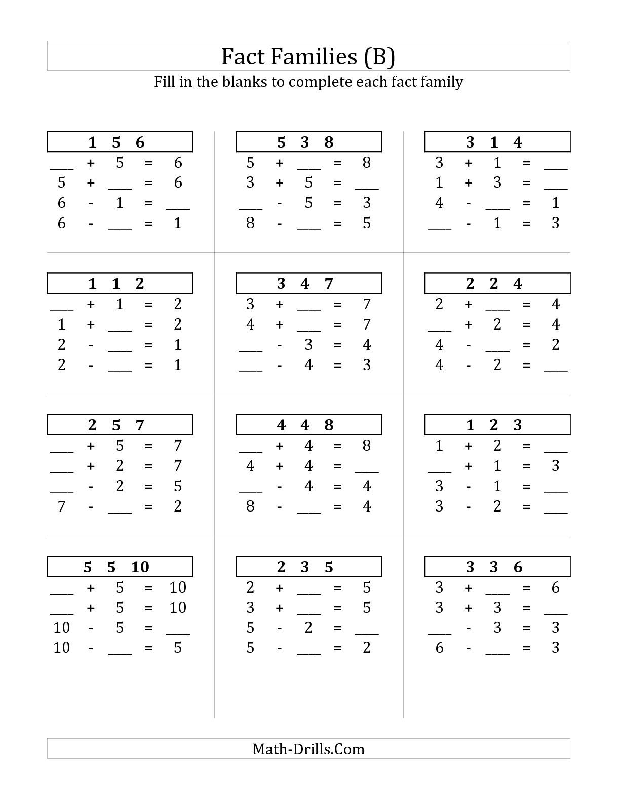 Addition And Subtraction Relationships With Sums To 10 B Math Worksheet Freemath