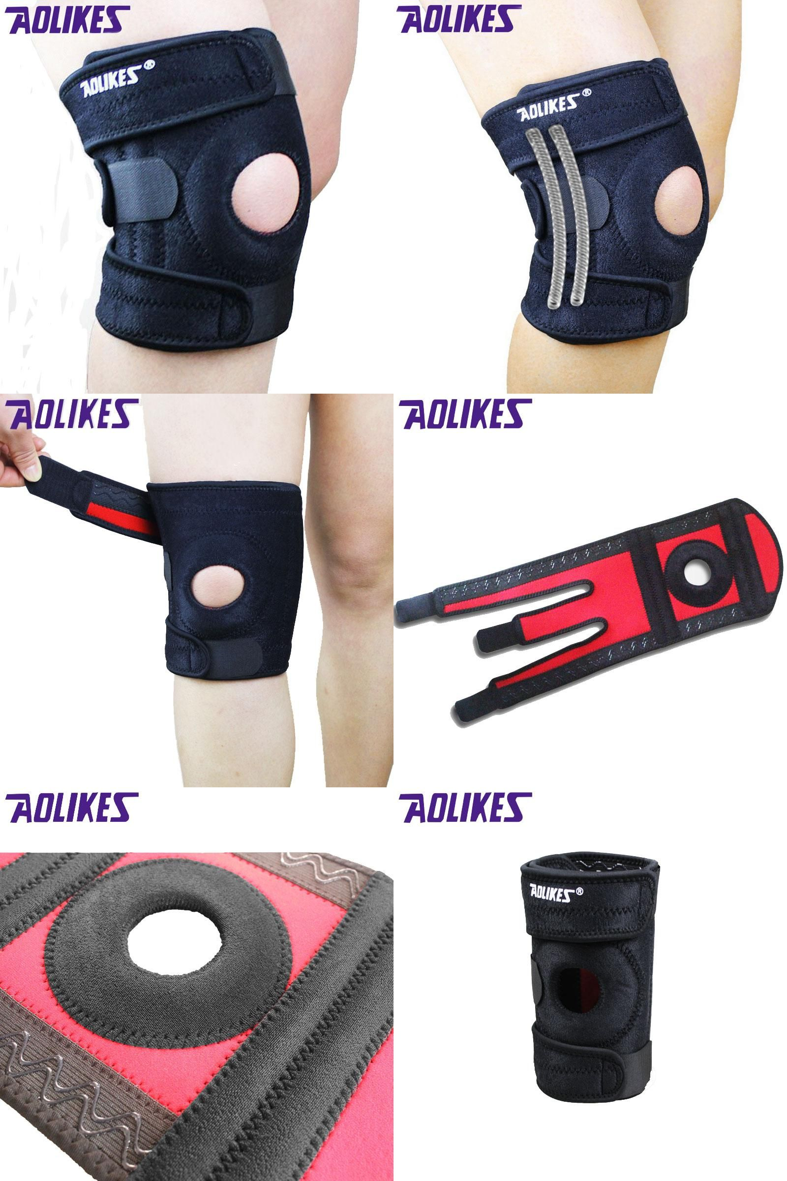 Visit To Buy 1 Piece Aolikes Mountaineering Knee Pad With 4 Springs Support Cycling Knee Protector Mountain Bike Sports Safety Kneepad Brace Ad Sports Safety