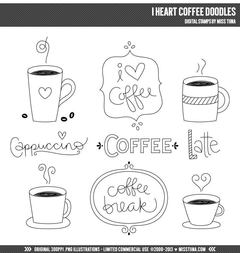 Ich Herz Kaffee Doodles digitale Briefmarken Clip Art Illustrationen - instant-Download - begrenzte kommerzielle Nutzung in Ordnung #stampmaking