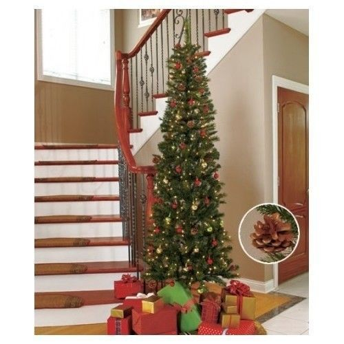 Pre-Lit Christmas Tree Pine Cones White Lights 7 ft Tall Slim