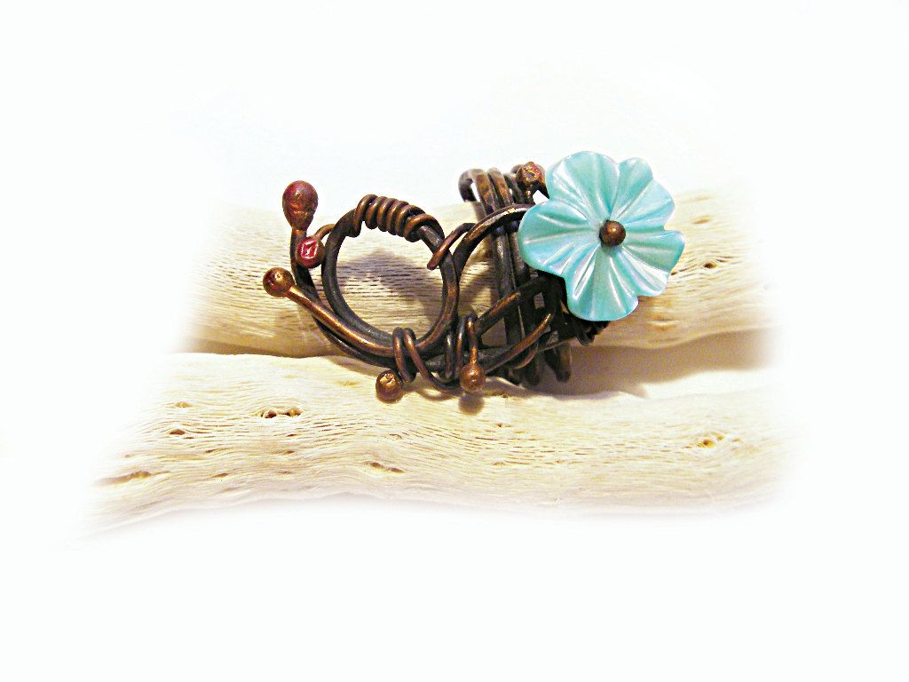 Teal turquoise blue flower ring copper Wire wrapped Shell flower ...