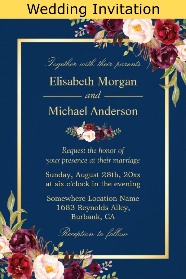 Rustic Burgundy Floral Gold Navy Blue Wedding Invitation Zazzle Com Blue Wedding Invitations Wedding Invitations Rustic Navy Blue Wedding Invitations