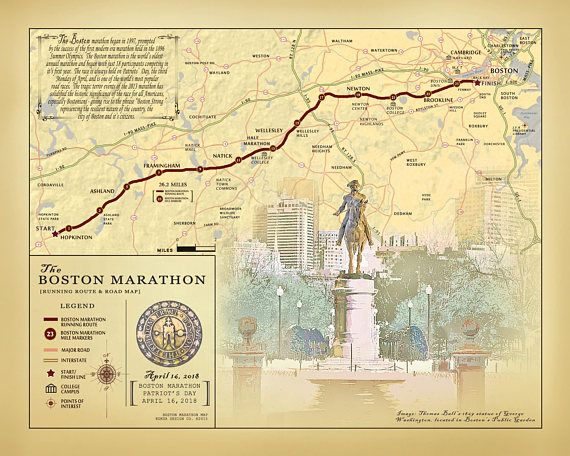 2018 boston marathon 11 x 14 vintage inspired running route map