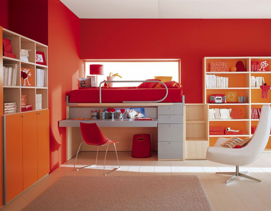 Modern bright red bedroom with splashes of orange Get the look