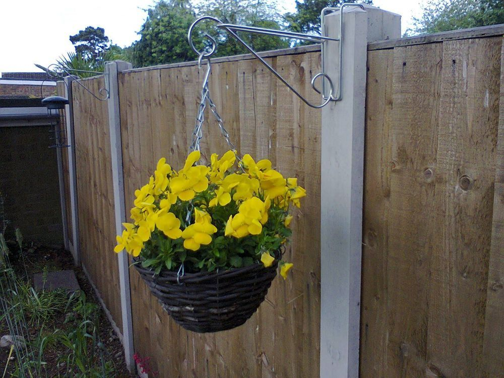 2 X HANGING BASKET BRACKETS FOR CONCRETE FENCE POSTS (H SECTION