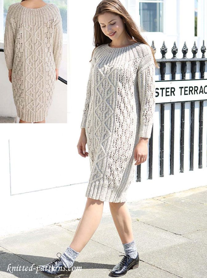 Cable Dress Knitting Pattern Free Knit Shorter To Make It Work With