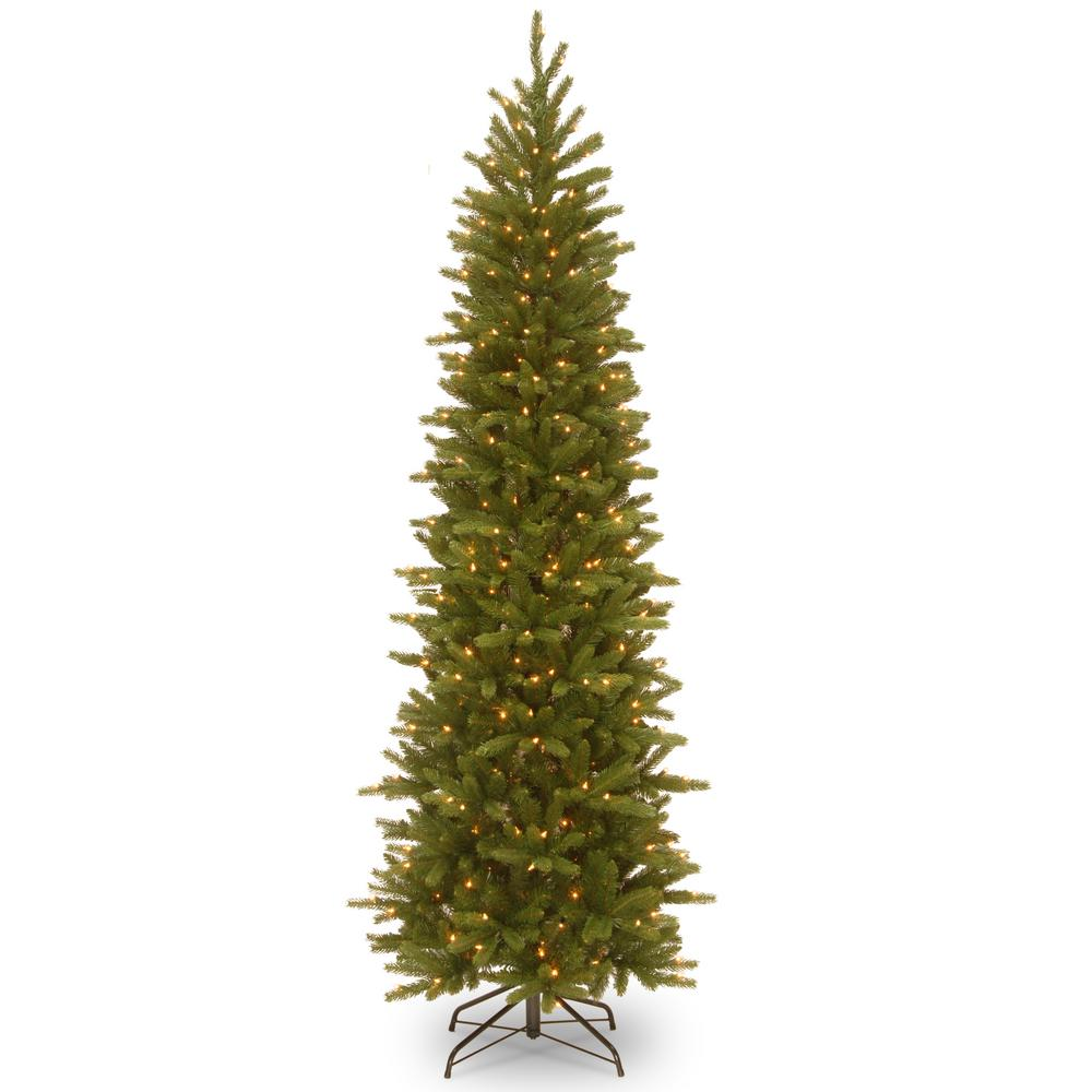 National Tree Company 6 5 Ft Grand Fir Pencil Slim Artificial Christmas Tree With Clear Lights Slim Christmas Tree Slim Artificial Christmas Trees Pre Lit Christmas Tree